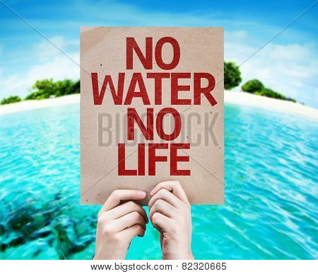 No Water No Life card with a beach background