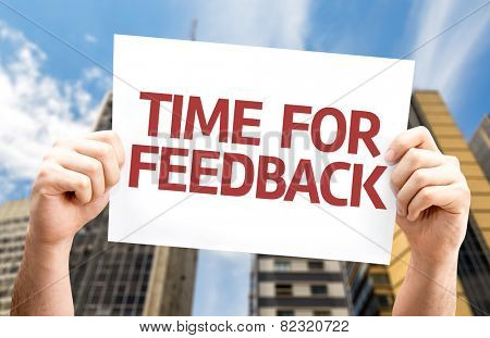 Time for Feedback card with a urban background