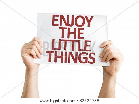 Enjoy the Little Things card isolated on white background