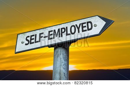 Self-Employed sign with a sunset background