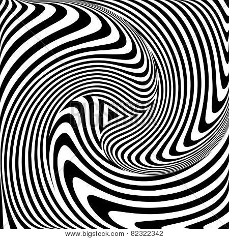 Torsion movement. Op art abstract vector illustration.