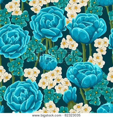 Floral seamless pattern with blue roses