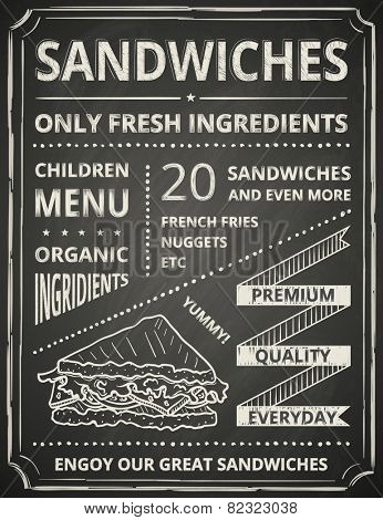 Sandwich poster on blackboard. Stylized like chalk draw.