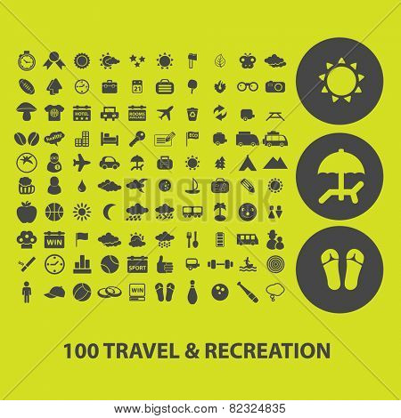 100 travel, recreation, vacation, tourism icons, signs, illustrations on background set, vector