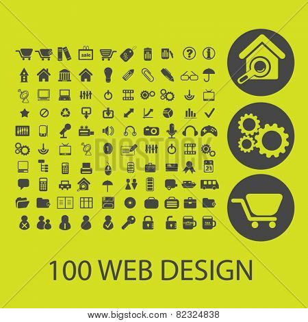 100 website design, internet icons, signs, illustrations set, vector