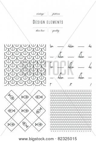 Vintage set - Patterns - thin line ( variable thickness of lines )