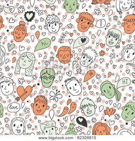 Funny kids in butterflies and hearts - beautiful cartoon seamless pattern in vector. Seamless pattern can be used for wallpapers, pattern fills, web page backgrounds