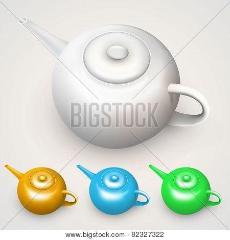 Bright colored teapots