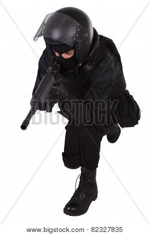 Special Forces Sodier In Black Uniform