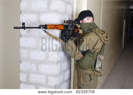 Insurgent Sniper With Svd Rifle