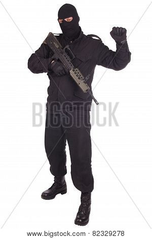 Man In Black Uniform With L85 Rifle