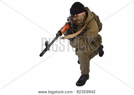 Mercenary Sniper With Svd Sniper Rifle