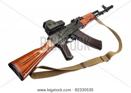 Ak Assault Rifle With Optical Sight On White