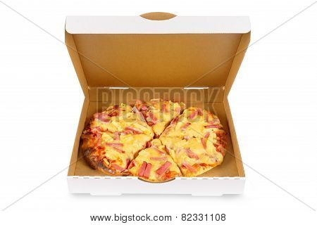 Hawaiian Pizza In Plain White Box