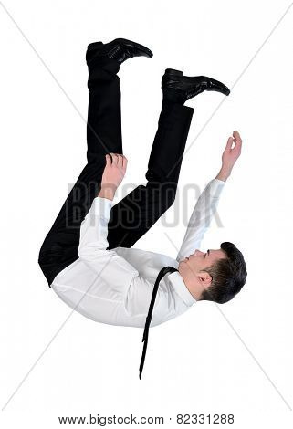 Isolated business man fall down