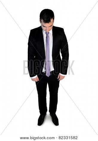 Isolated business man guilty looking down