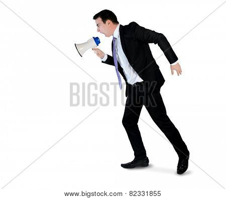 Isolated business man angry shouting