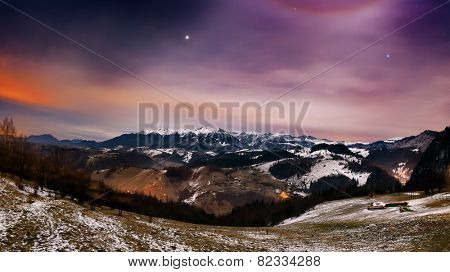 Night landscape in the mountains in Bran, Romania
