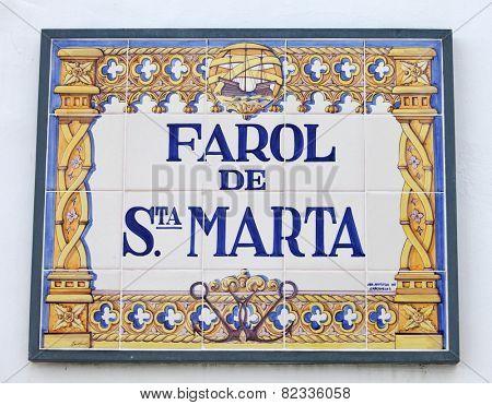 Plate of Santa Marta lighthouse in Cascais, Portugal