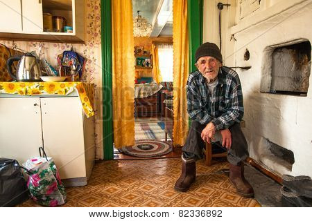 VINNITSY, RUSSIA - CIRCA MAY, 2012: Unidentified old man Veps - small Finno-Ugric people living on territory of Leningrad region in Russia. Total number in Leningrad reg.- 1380 people (to 2010 year)