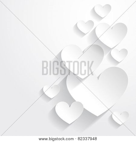 vector illustration of paper hearts placed in background