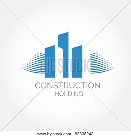 Abstract construction or real estate company logo design. Vector icon with buildings and houses
