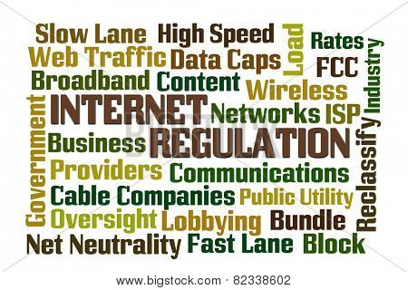 Internet Regulation word cloud with white background