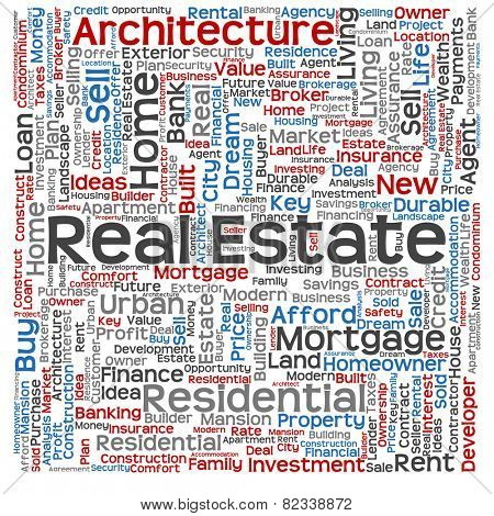 Concept or conceptual real estate or housing text word cloud tagcloud isolated on background, metaphor to investment, family, home, building, sale, residential, property, construction business