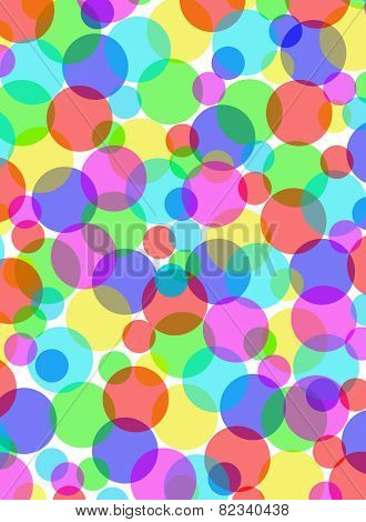 Multicolored overlapping circles background illustration.