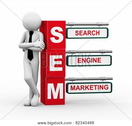 3D Businessman With Sem Signpost Illustration