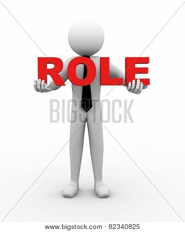 3D Businessman Holding Role Illustration
