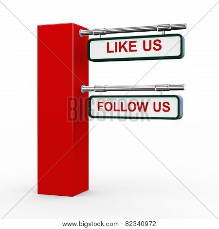 3D Modern Signpost Follow Us