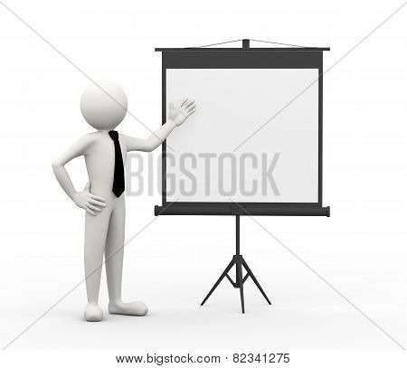 3D Business Person With Projector Screen