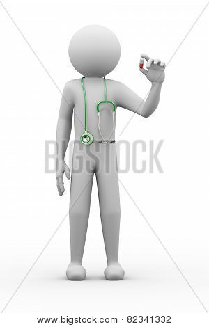 3D Doctor With Stethoscope Holding Pill Illustration