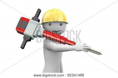 3D Smiling Man With Helmet And Jackhammer
