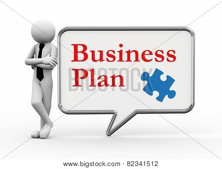 3D Businessman With Speech Bubble - Business Plan