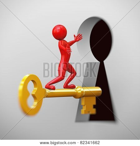 3D Red Man Riding On Golden Key