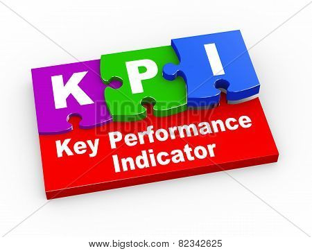 3D Kpi Puzzle Pieces Illustration
