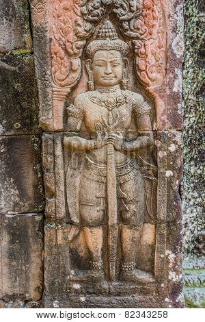 low relief carving Ta Prohm Angkor Wat Cambodia