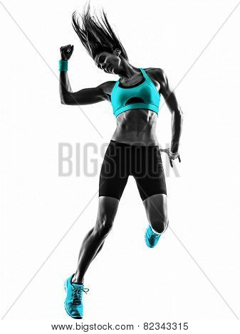 one caucasian woman dancing  exercising  fitness in studio silhouette isolated on white background