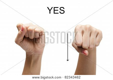 Woman Hand Up Sign Yes American Sign Language Asl