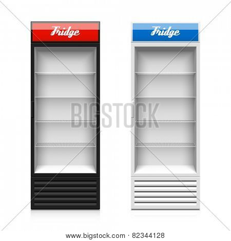 Upright glass door display fridge template. Vector.