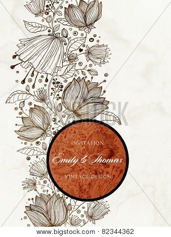 Wedding Invitation. Vintage Card with Hand Drawn Flowers. Speech Bubble with Floral Ornament.