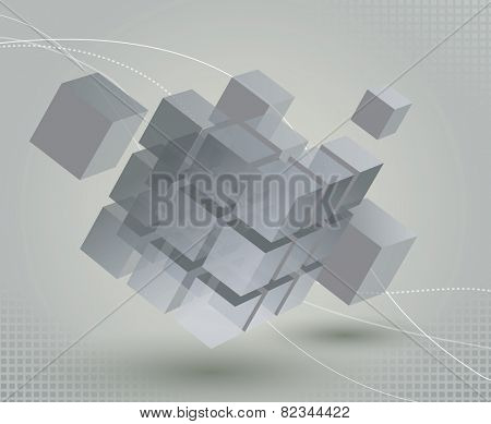 Floating 3d cube with moving segmented parts on light gray background and elegant curved lines