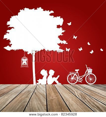 Valentine background with children read a book under tree. Vector Illustration.