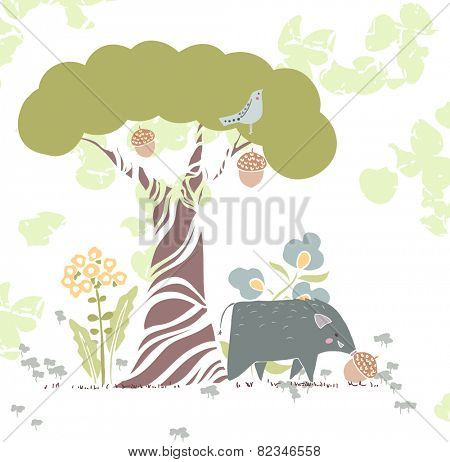 forest theme card with wild pig and acorn
