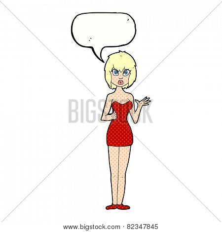 cartoon confused woman in cocktail dress with speech bubble