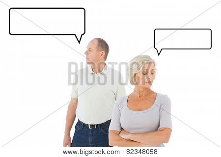 Older couple having an argument against speech bubble