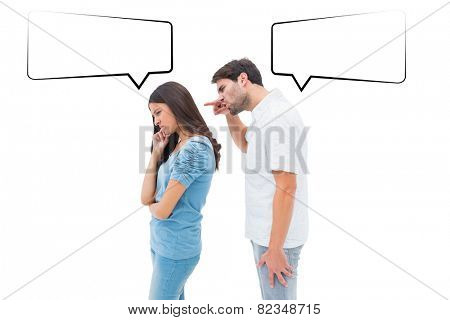 Angry man shouting at girlfriend against speech bubble