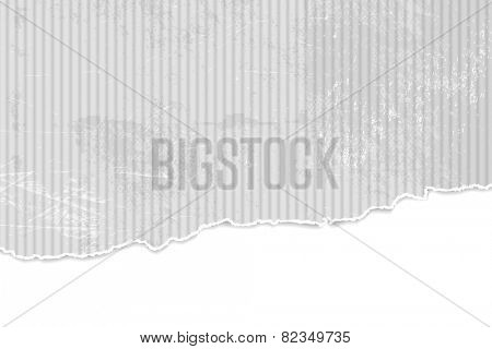 Grey paper background with torn edges - corrugated cardboard texture